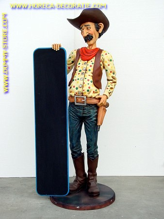 Cowboy with chalkboard, h: 1,74 meter
