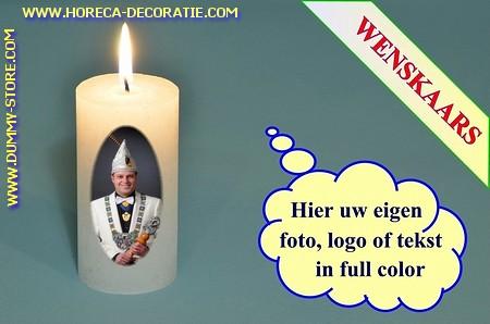 Wenskaars met eigen carnavalsfoto, Ø 5cm, H:10 cm (W2)