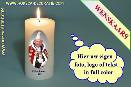Wenskaars met eigen carnavalsfoto, Ø 7cm, H: 20 cm (W4)