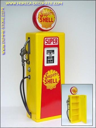 Benzine pomp geel, hoogte: 2,00 meter