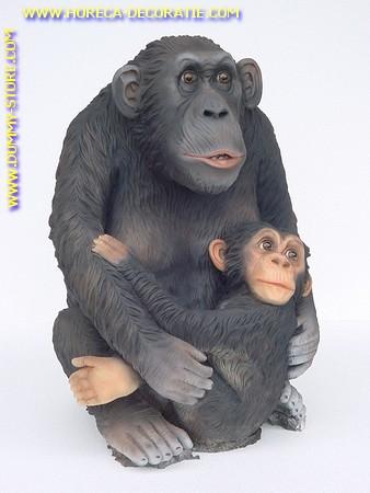 Affe Schimpanse mit Jungen, Höhe: 0,78 Meter