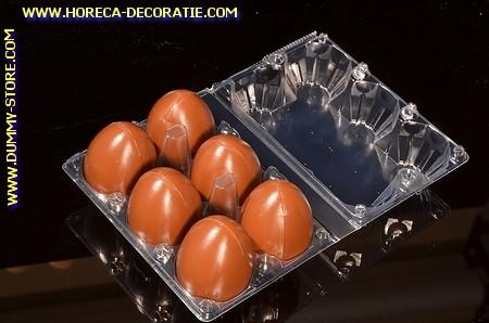 Schachtel mit 6 Attrappe Eier, Schoko brown