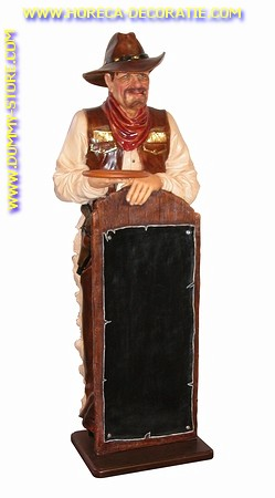 Cowboy with chalkboard, h: 1,81 meter