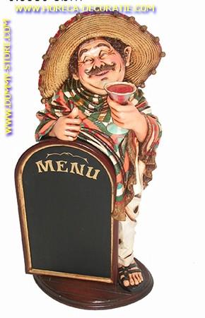 Mexicaan met krijtbord, hoogte: 1,01 meter