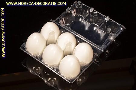 Schachtel mit 6 Attrappe Eier, WEISS - Attrappe