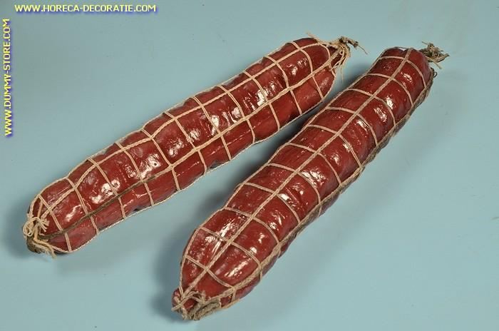 Salami in net, groot, 2 stuks (B2) - 50x250 mm - namaak