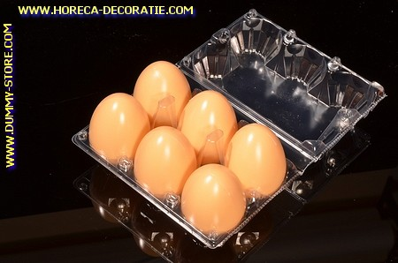Box with 6 BROWN dummy eggs