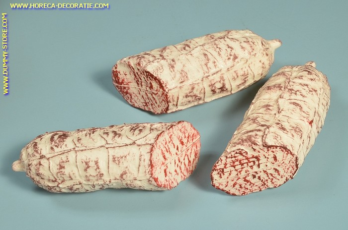Salami, wit, 3x eindstuk - 50x130 mm - vleesdummy