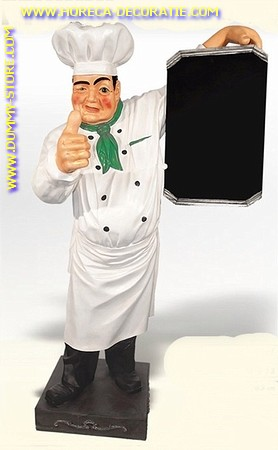 Chef with chalkboard, H: 1,83 mtr