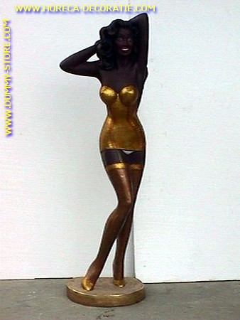Sexy lady in gold dress, 1.83 meter