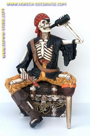 Drinkende skelet piraat, hoogte: 1,32 meter