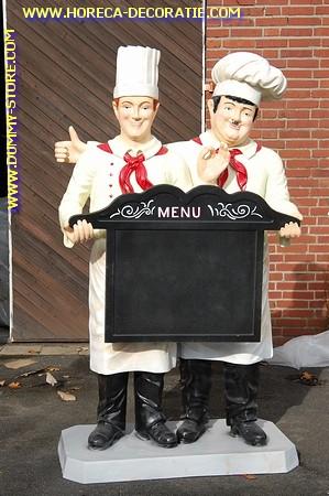 Laurel en Hardy met krijtbord, levensgroot