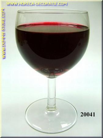 Glas Rode Wijn in glas met korte voet - Attrappe