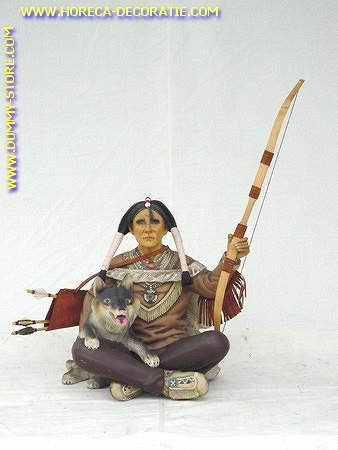 Indianer Krieger mit Wolf, Höhe: 0,63 Meter