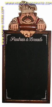 Pastry cook krijtbord, hoogte: 1,30 meter