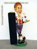 Clown with chalkboard, h: 1,87 meter