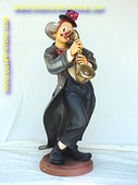 Clown with saxophone, h: 1,83 meter