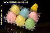 Box with 6 dummy eggs, several colors (dummy)
