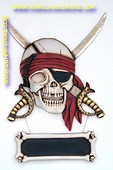 Pirate decoration with chalkboard, h: 1,08 meter