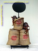Bags with coffeebeans and chalkboard, h: 1,33 mtr