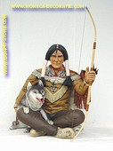Indianer Krieger mit Wolf, Höhe: 1,07 Meter