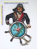 Pirate with stearingwheel (CLOCK) 70x43x7 cm.